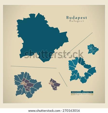 Modern Map - Budapest HU - stock vector