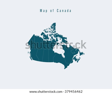 Modern Map - Canada with federal states - stock vector