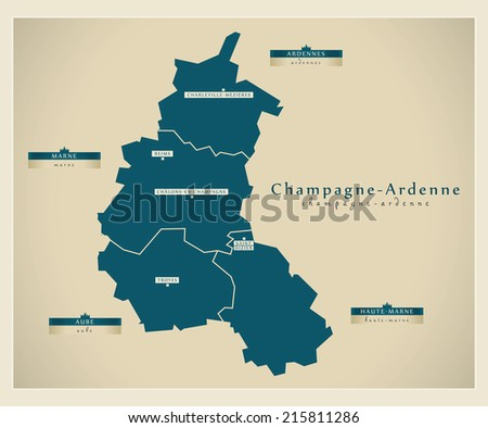 Modern map - Champagne-Ardenne FR - stock vector