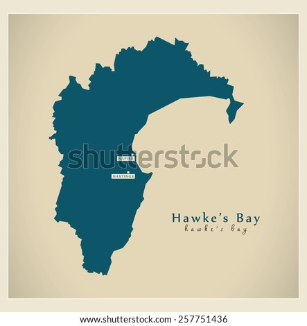 Modern Map - Hawke's Bay NZ - stock vector