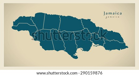Modern Map - Jamaica with parishes JM - stock vector