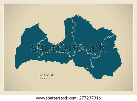 Modern Map - Latvia with regions LV - stock vector