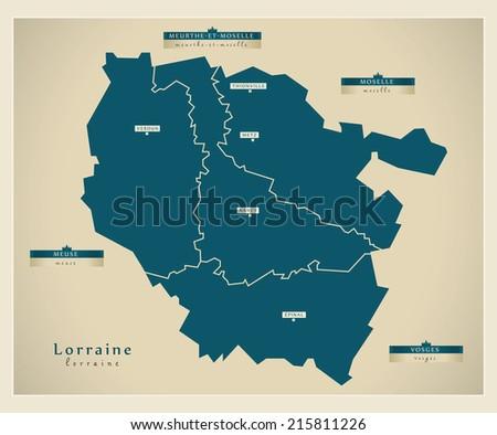 Modern map - Lorraine FR - stock vector