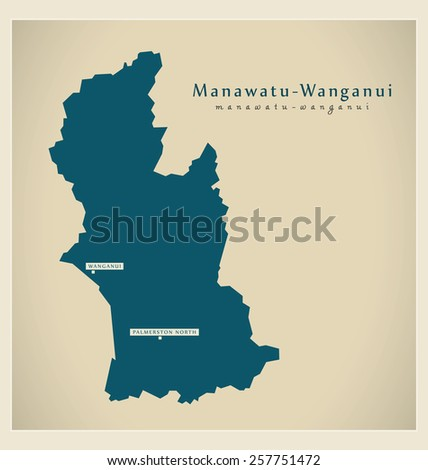 Modern Map - Manawatu Wanganui NZ - stock vector