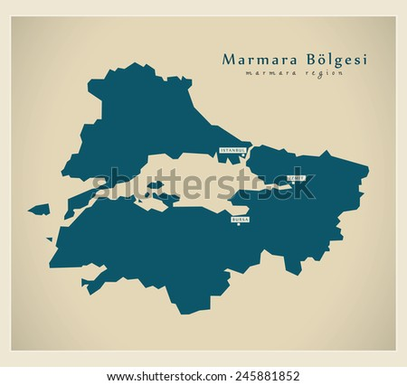 Modern Map - Marmara TR - stock vector