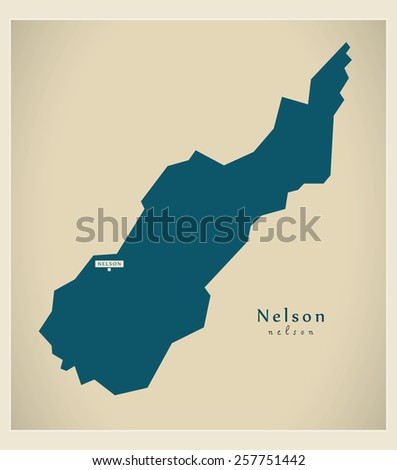 Modern Map - Nelson NZ - stock vector