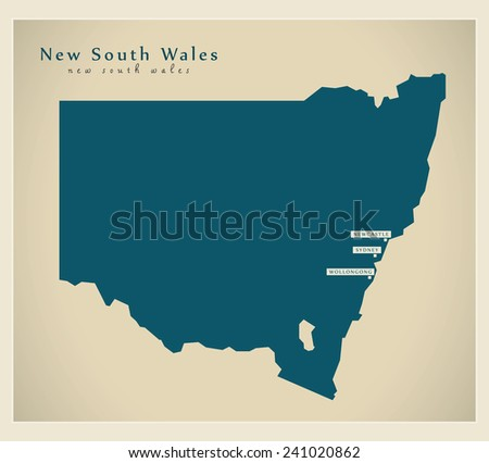Modern Map - New South Wales AU - stock vector