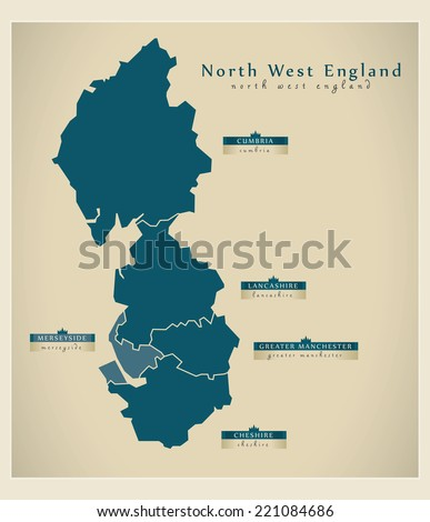 Modern Map - North West England UK - stock vector