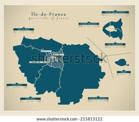 Modern Map Parisisleoffrance Fr Stock Vector Shutterstock - Modern map of paris