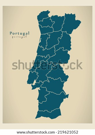 Modern Map - Portugal with districts PT - stock vector