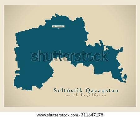 Modern Map Soltustik Qazaqstan Kz Stock Vector 311647178 Shutterstock
