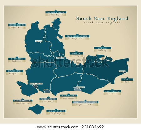Modern Map - South East England UK - stock vector