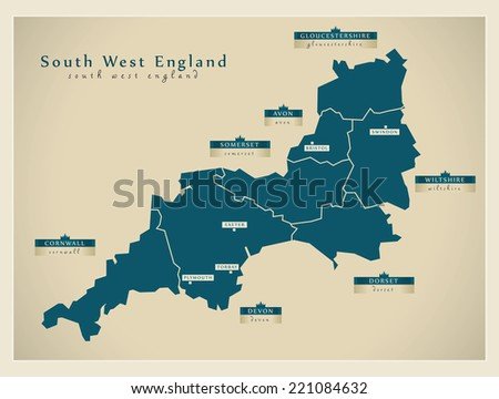 Modern Map - South West England UK - stock vector