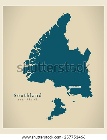 Modern Map - Southland NZ - stock vector