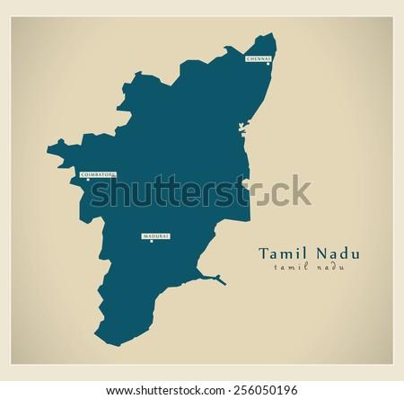 Modern Map - Tamil Nadu IN - stock vector