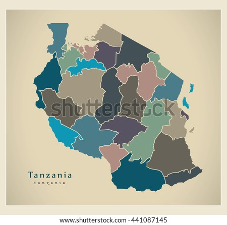 Modern Map Tanzania Regions Colored Tz Stock Vector HD Royalty Free