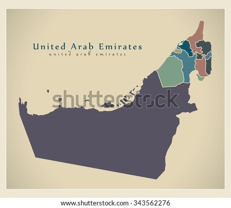 Modern Map - United Arab Emirates with emirates colored AE - stock vector