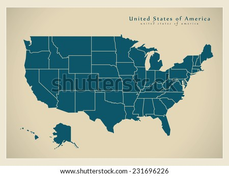 Modern Map - USA with federal states - stock vector