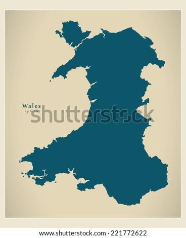 Modern Map - Wales UK - stock vector