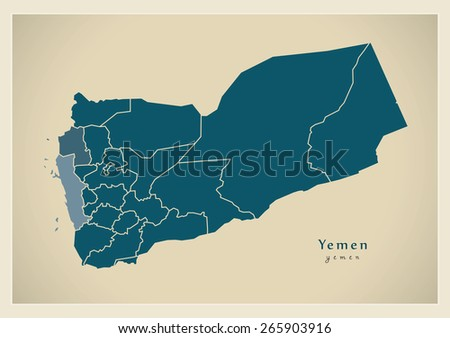 Modern Map - Yemen with governorates YE - stock vector