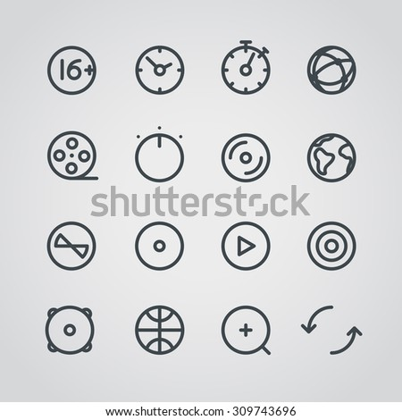 Modern media web icons collection. Round lineart design pictograms - stock vector