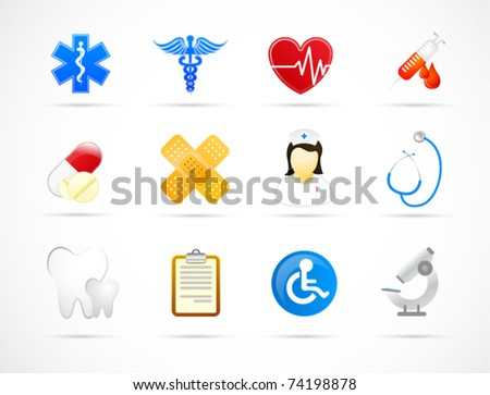 Modern medical icon set - stock vector