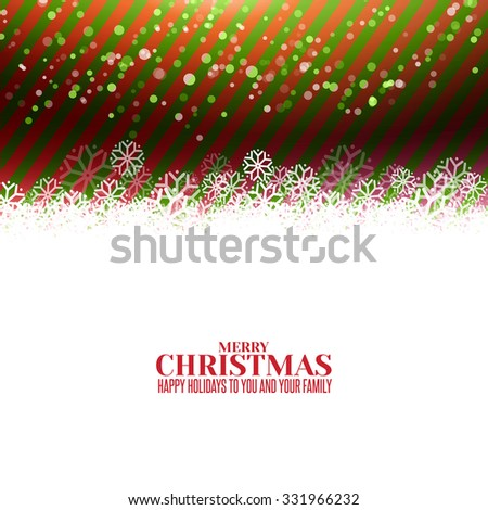Modern Merry Christmas green and red stripes background with snow and greetings. Vector holidays banner design. Xmas stripes with snow illustration.
