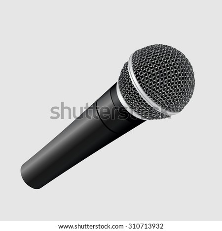 Modern metallic microphone on white background. Vector illustration