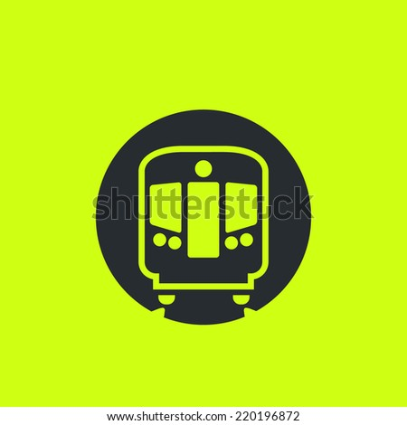 Modern metro / underground / subway train flat icon. Front view, classic style. For maps, schemes, applications and infographics.  - stock vector