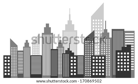 Modern Metropolis City Skyscrapers Skyline - stock vector