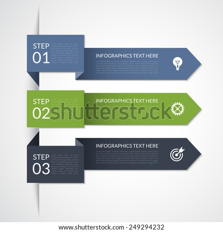Modern minimal arrow infographic elements. Origami style. Vector illustration. Can be used for workflow layout, brochure, diagram, chart, number and step up options, web design - stock vector