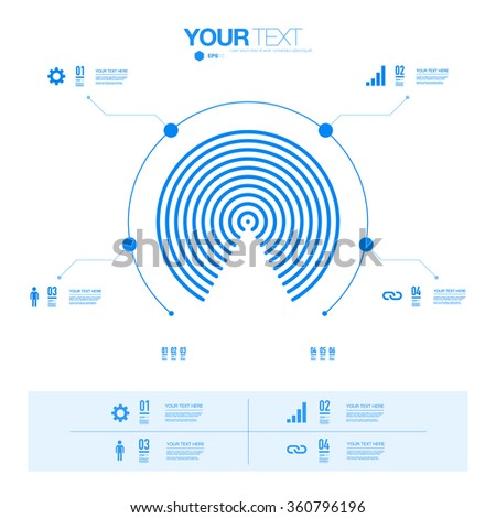 Modern minimal blue and white infographic design can be used for workflow layout, chart, number options, presentation, web design. Eps 10 stock vector illustration  - stock vector