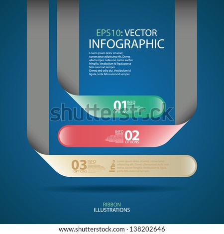 Modern minimal business step origami style options banner infographics. Vector
