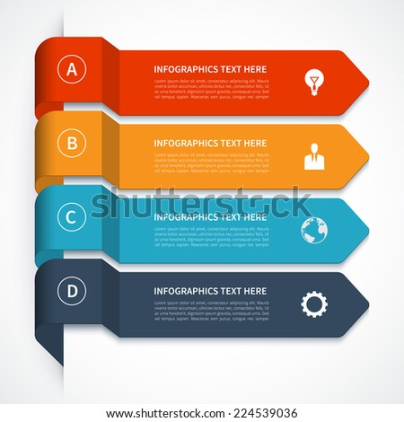 Modern minimal colorful arrow infographics elements. Origami style. Vector illustration. Can be used for workflow layout, diagram, number and step up options, web design. - stock vector