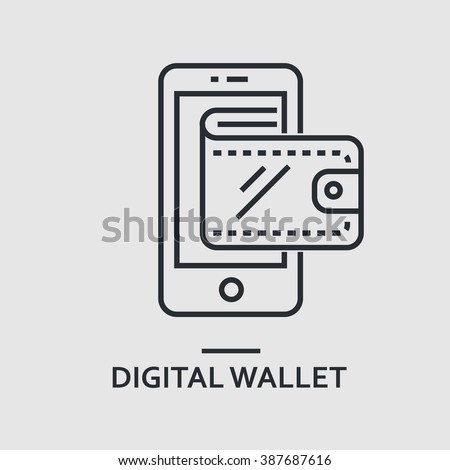 Modern minimal flat thin line digital wallet concept vector illustration. Mobile banking, online finance, e-commerce banner template. For mobile app, web, banner, poster, flyer, header, blog post. - stock vector