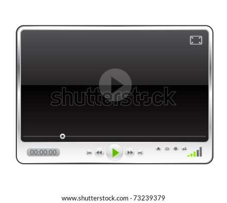 Modern minimal media player - stock vector