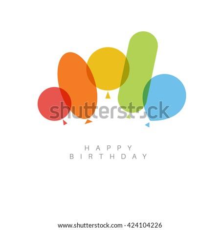 Modern minimalist Happy birthday card illustration  with balloons. - stock vector