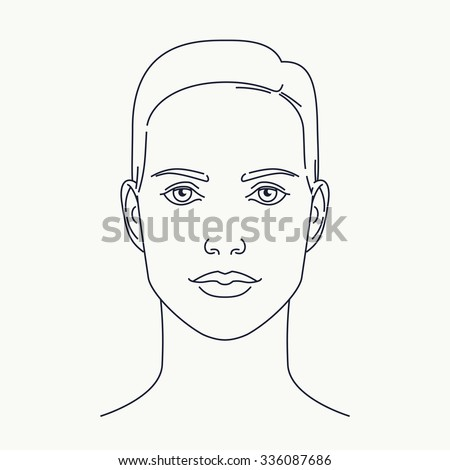 Modern minimalistic thin line female face. Cosmetics and beauty vector linear design element on woman portrait. Ideal for facial skin care, makeup, plastic surgery graphic and web design, publications - stock vector