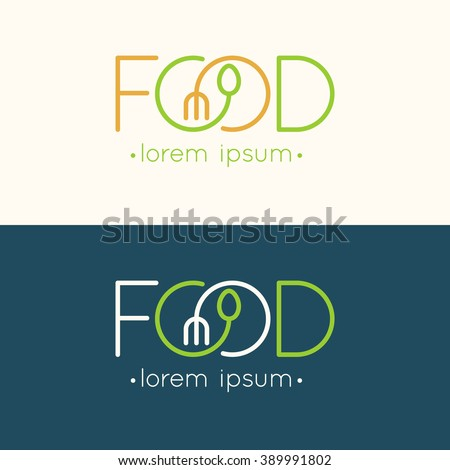 Modern minimalistic vector logo of food. Vector illustration.