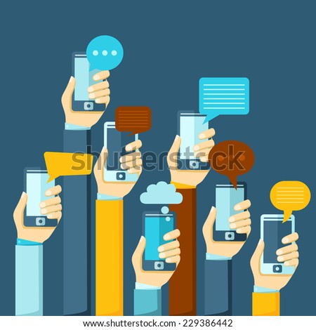 Modern mobile instant messenger chat poster with hands and smartphones vector illustration - stock vector