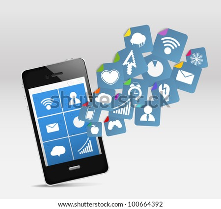 Modern mobile phone and social media - stock vector