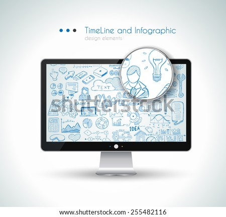 Modern Mockup Device with infographics sketch set: design elements isolated, vector shapes. It include lots of icons included graphs, stats, devices,laptops, clouds, concepts and so on. - stock vector