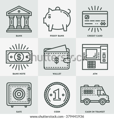 Modern Money and Banking Mono Linear Icon Set. Trendy Simple Line Design Art Vector Illustrations. - stock vector