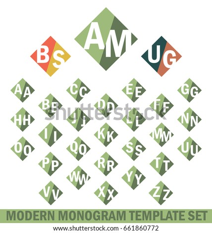 Modern Monogram Template Set. Create Monograms Of Two Letter Shapes, Left  And Right Side