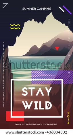 Modern motivational poster template with cave mountains and sea. Trendy typographic and design elements. Vector illustration - stock vector