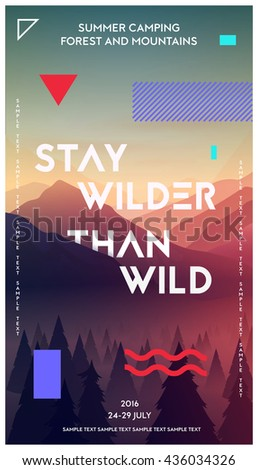 Modern motivational poster template with forest and mountains. Trendy typographic and design elements. Vector illustration