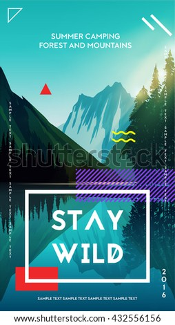 Modern motivational poster template with forest mountains and lake landscape. Trendy typographic and design elements. Vector illustration