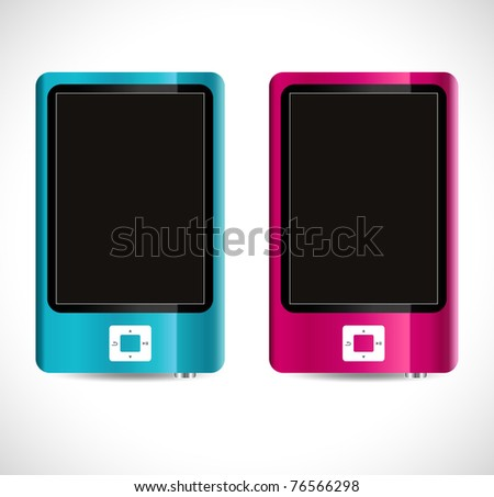 modern mp4 players - stock vector