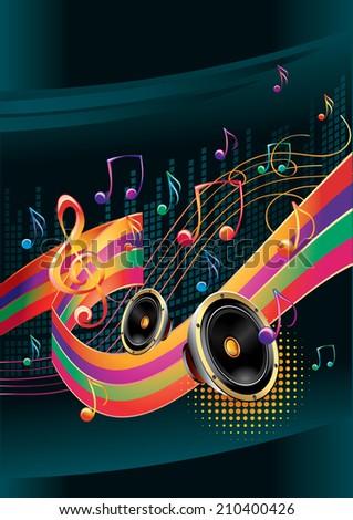 Modern music design - stock vector