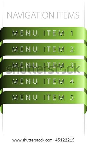 modern navigation items on white background (vector) - stock vector